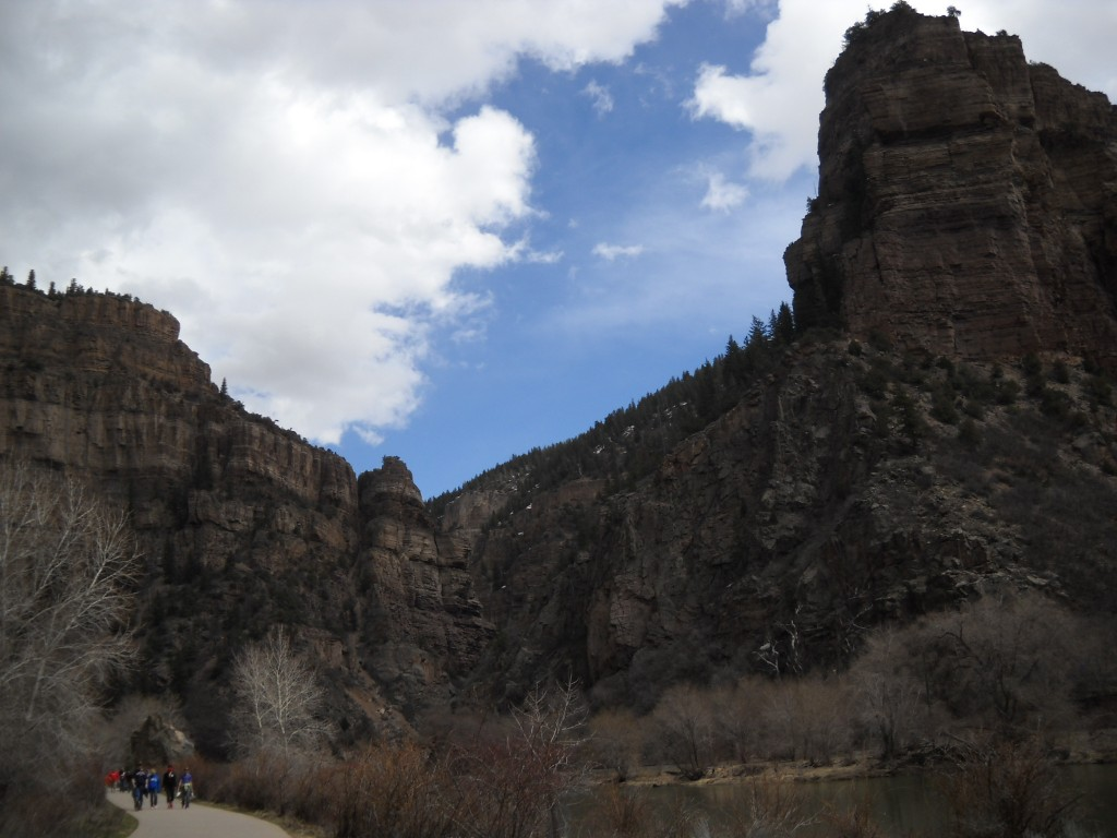 The trail to Hanging Lake begins with a stroll on concrete bicycle path along the Colorado River