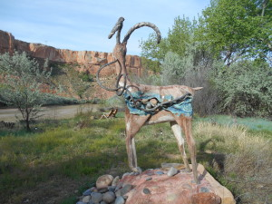 Desert Bighorn sculpture in memory of author Ellen Meloy