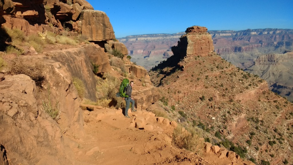 Andrea heading down the steep and multitudinous switch backs of the South Kaibab.